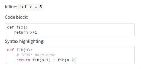 Markdown code
